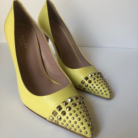 Gucci Shoes - Gucci Light Yellow Leather Studded Pumps size 37